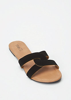 Black Twist Band Slide Sandals