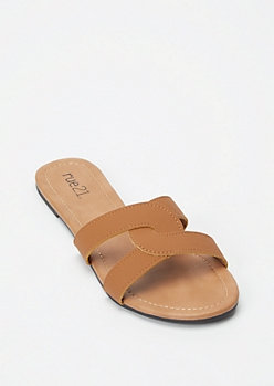 Cognac Twist Band Slide Sandals