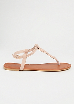 Pink Woven T Strap Ankle Sandals