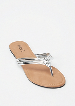 Silver Strappy Braid Flip Flops