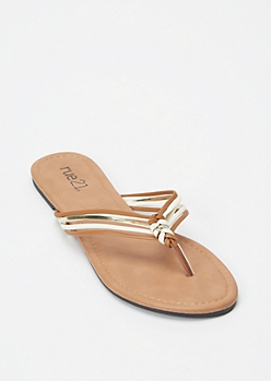Brown Strappy Braid Flip Flops