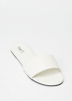 White Single Band Strap Slide Sandals