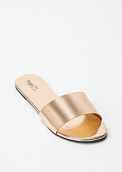 Rose Gold Single Band Strap Slide Sandals