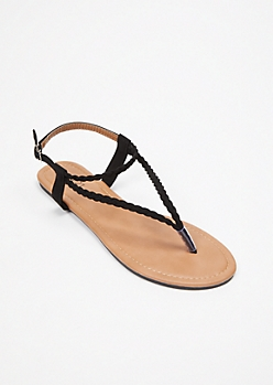Black Triangle Braid T Strap Sandals