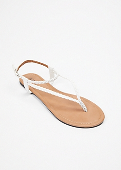 White Triangle Braid T Strap Sandals