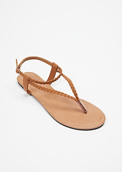 Cognac Triangle Braid T Strap Sandals