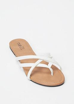 White Crisscross Strap Flip Flops