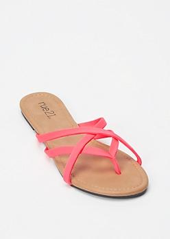 Neon Pink Crisscross Strap Flip Flops