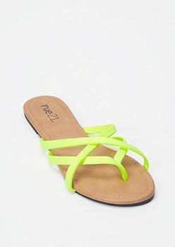Neon Green Crisscross Strap Flip Flops