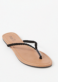 Black Braided Strap Flip Flops