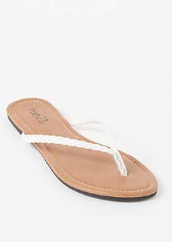 White Braided Strap Flip Flops