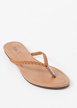 Cognac Braided Strap Flip Flops