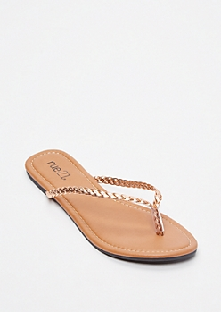 Rose Gold Braided Strap Flip Flops