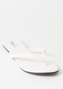 White Single Strap Flip Flops