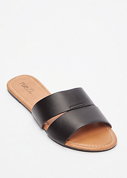 Black Cut Out Strap Slide Sandals