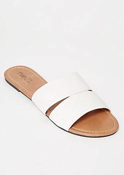 White Cut Out Strap Slide Sandals