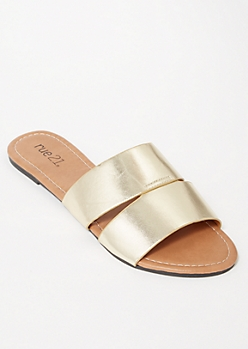 Gold Cut Out Strap Slide Sandals