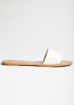 White Faux Leather Single Strap Slides