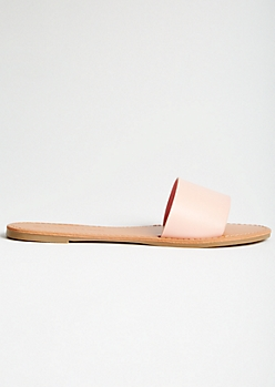 Pink Faux Leather Single Strap Slides