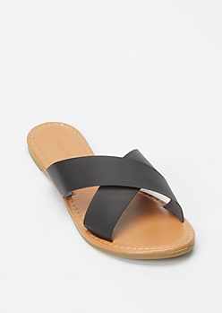 Black X Band Slide Sandals