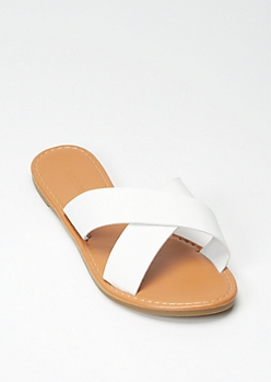 White X Band Slide Sandals