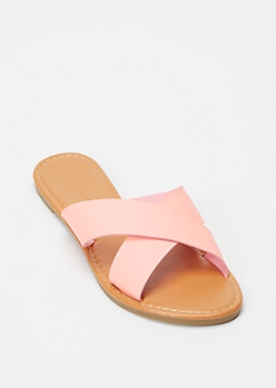 Light Pink X Band Slide Sandals