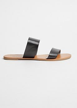 Black Double Strap Faux Leather Slides