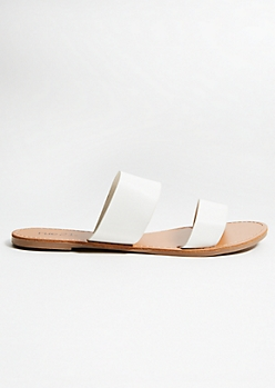 White Double Strap Faux Leather Slides