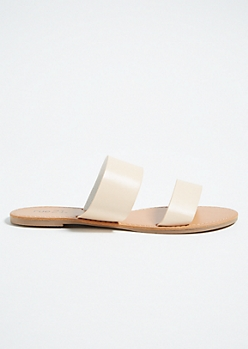 Nude Double Strap Faux Leather Slides