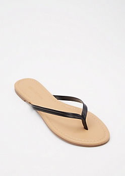 Black Faux Leather Flip Flops