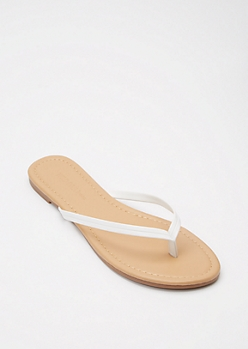 White Faux Leather Flip Flops