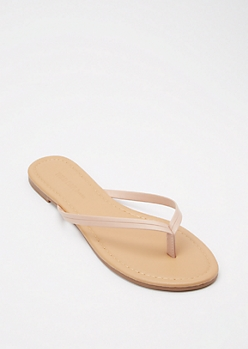 Tan Faux Leather Flip Flops