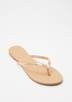 Rose Gold Faux Leather Flip Flops