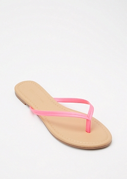 Neon Fuchsia Faux Leather Flip Flops