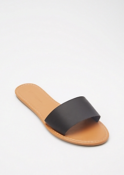 Black Single Strap Slide Sandals