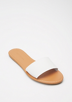 White Single Strap Slide Sandals