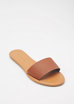 Cognac Single Strap Slide Sandals