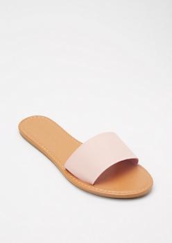 Pink Single Strap Slide Sandals
