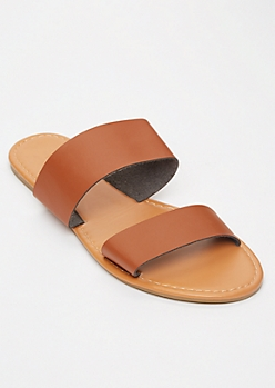 Cognac Double Strap Slide Sandals