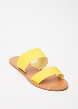 Yellow Double Strap Slide Sandals