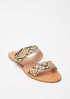 Snakeskin Print Double Strap Slide Sandals