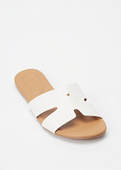 White Cutout Strap Slide Sandals