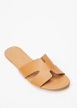 Cognac Cutout Strap Slide Sandals