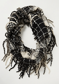 Black Plaid Print Fringed Infinity Scarf