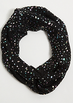 Black Iridescent Foil Infinity Scarf