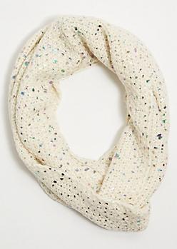 Cream Iridescent Foil Infinity Scarf