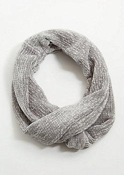 Light Gray Chenille Infinity Scarf