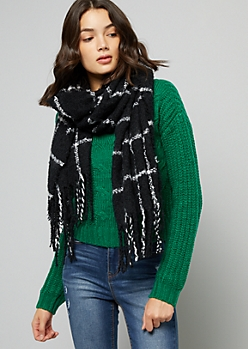 Black Plaid Print Fringed Blanket Scarf