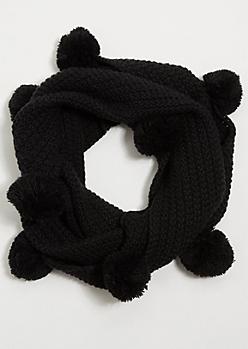 Black Thick Knit Pom Pom Infinity Scarf