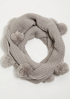 Gray Thick Knit Pom Pom Infinity Scarf